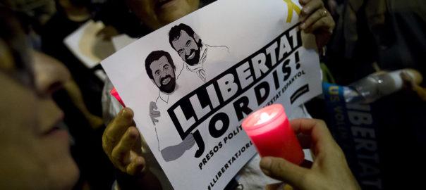 Manifestació llibertat Jordi Sanchez i Jordi Cuixart